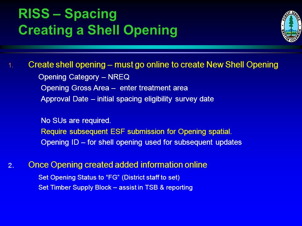 RISS – Spacing Creating a Shell Opening 1.