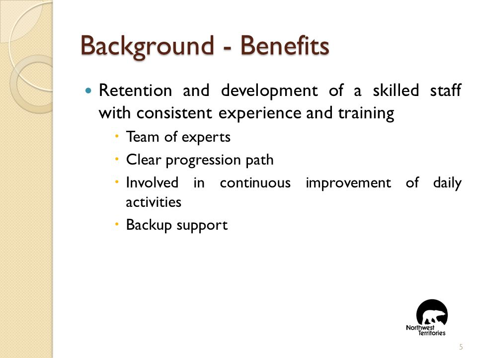 Background- Benefits Retention and development of a skilled staff with consistent experience and training  Team of experts  Clear progression path  Involved in continuous improvement of daily activities  Backup support 5