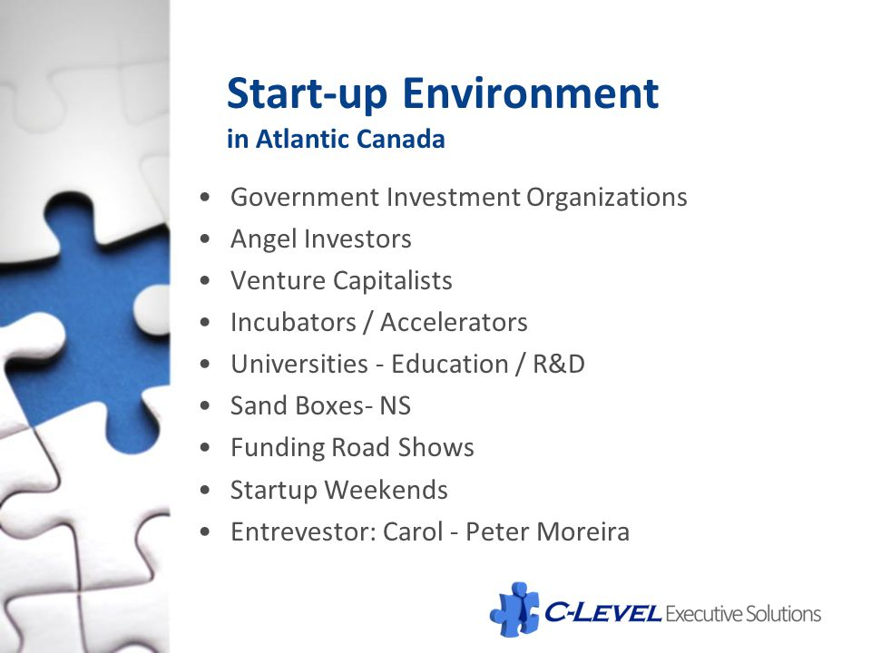Start-up Environment in Atlantic Canada Government Investment Organizations Angel Investors Venture Capitalists Incubators / Accelerators Universities