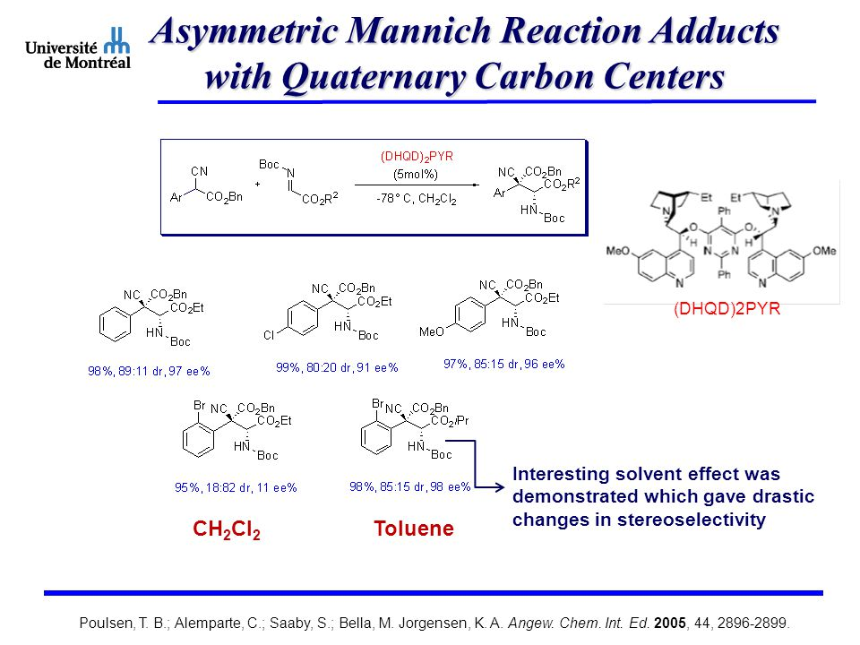 Asymmetric Mannich Reaction Adducts with Quaternary Carbon Centers (DHQD)2PYR Interesting solvent effect was demonstrated which gave drastic changes in stereoselectivity CH 2 Cl 2 Toluene Poulsen, T.