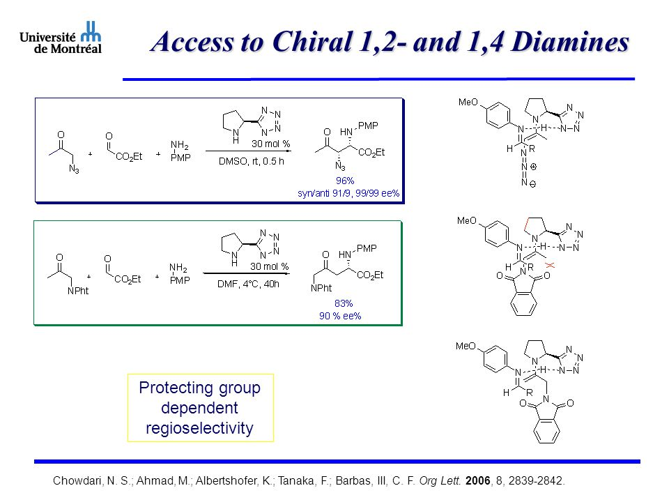Access to Chiral 1,2- and 1,4 Diamines Protecting group dependent regioselectivity Chowdari, N.
