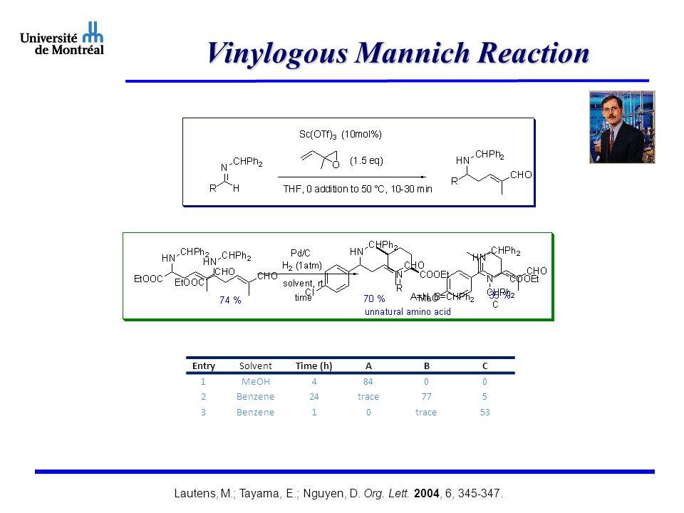 Vinylogous Mannich Reaction EntrySolventTime (h)ABC 1 MeOH 4 8400 2 Benzene 24 trace775 3Benzene10trace53 Lautens, M.; Tayama, E.; Nguyen, D.