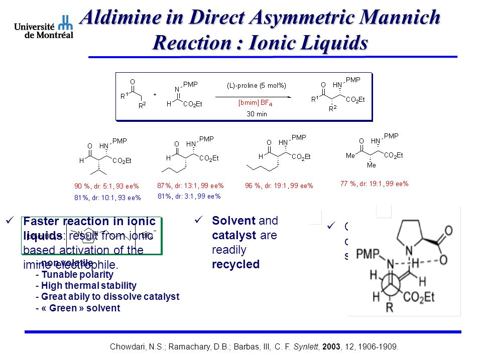Aldimine in Direct Asymmetric Mannich Reaction : Ionic Liquids - non volatile - Tunable polarity - High thermal stability - Great abily to dissolve catalyst - « Green » solvent Faster reaction in ionic liquids: result from ionic based activation of the imine electrophile.