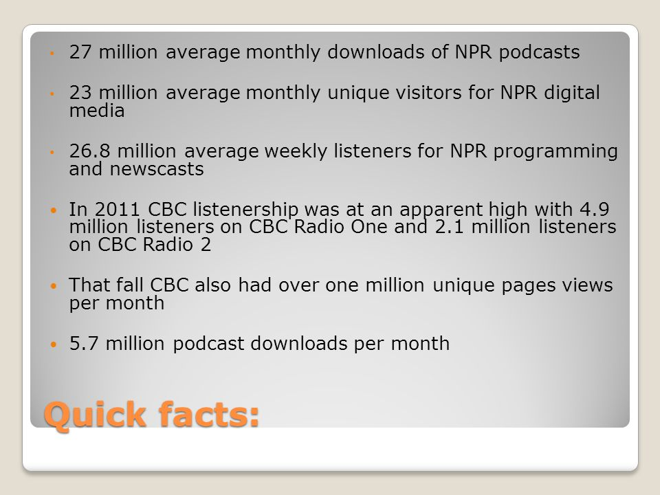 Quick facts: 27 million average monthly downloads of NPR podcasts 23 million average monthly unique visitors for NPR digital media 26.8 million average weekly listeners for NPR programming and newscasts In 2011 CBC listenership was at an apparent high with 4.9 million listeners on CBC Radio One and 2.1 million listeners on CBC Radio 2 That fall CBC also had over one million unique pages views per month 5.7 million podcast downloads per month