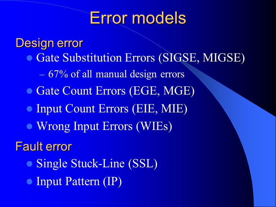 Error models Gate Substitution Errors (SIGSE, MIGSE) – 67% of all manual design errors Gate Count Errors (EGE, MGE) Input Count Errors (EIE, MIE) Wron