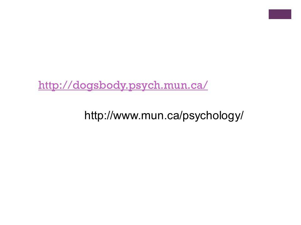 http://dogsbody.psych.mun.ca/ http://www.mun.ca/psychology/