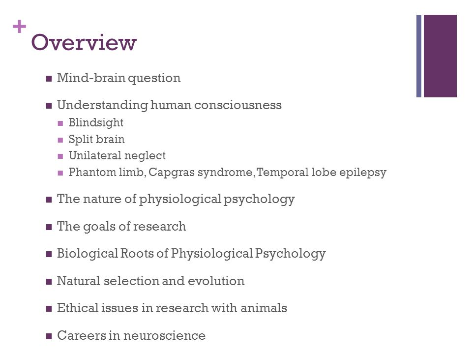 + Overview Mind-brain question Understanding human consciousness Blindsight Split brain Unilateral neglect Phantom limb, Capgras syndrome, Temporal lobe epilepsy The nature of physiological psychology The goals of research Biological Roots of Physiological Psychology Natural selection and evolution Ethical issues in research with animals Careers in neuroscience