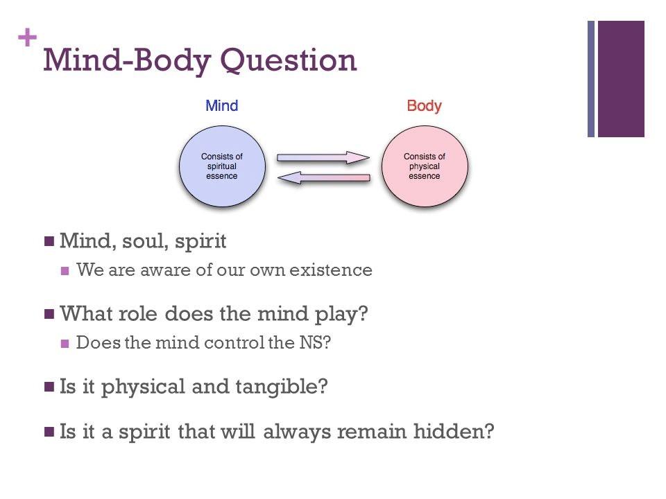 + Mind-Body Question Mind, soul, spirit We are aware of our own existence What role does the mind play.