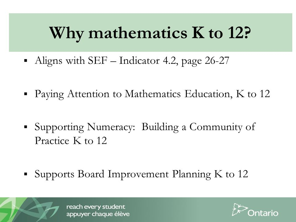  Aligns with SEF – Indicator 4.2, page 26-27  Paying Attention to Mathematics Education, K to 12  Supporting Numeracy: Building a Community of Practice K to 12  Supports Board Improvement Planning K to 12 Why mathematics K to 12