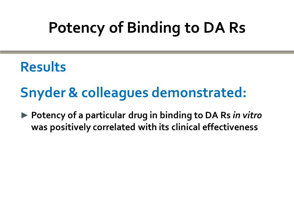 Potency of Binding to DA Rs Results Snyder & colleagues demonstrated: ► Potency of a particular drug in binding to DA Rs in vitro was positively correlated with its clinical effectiveness