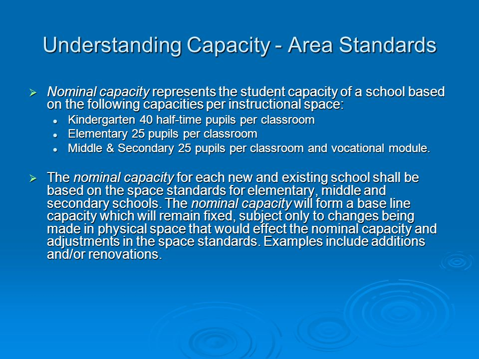 Understanding Capacity - Area Standards  Nominal capacity represents the student capacity of a school based on the following capacities per instructi