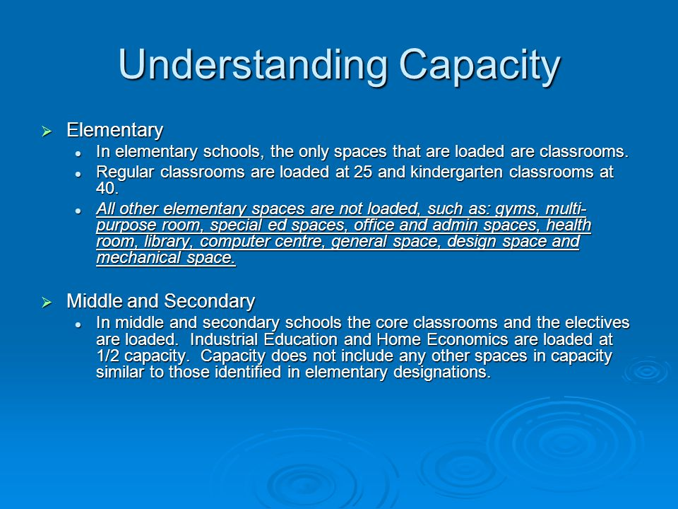 Understanding Capacity  Elementary In elementary schools, the only spaces that are loaded are classrooms. In elementary schools, the only spaces that