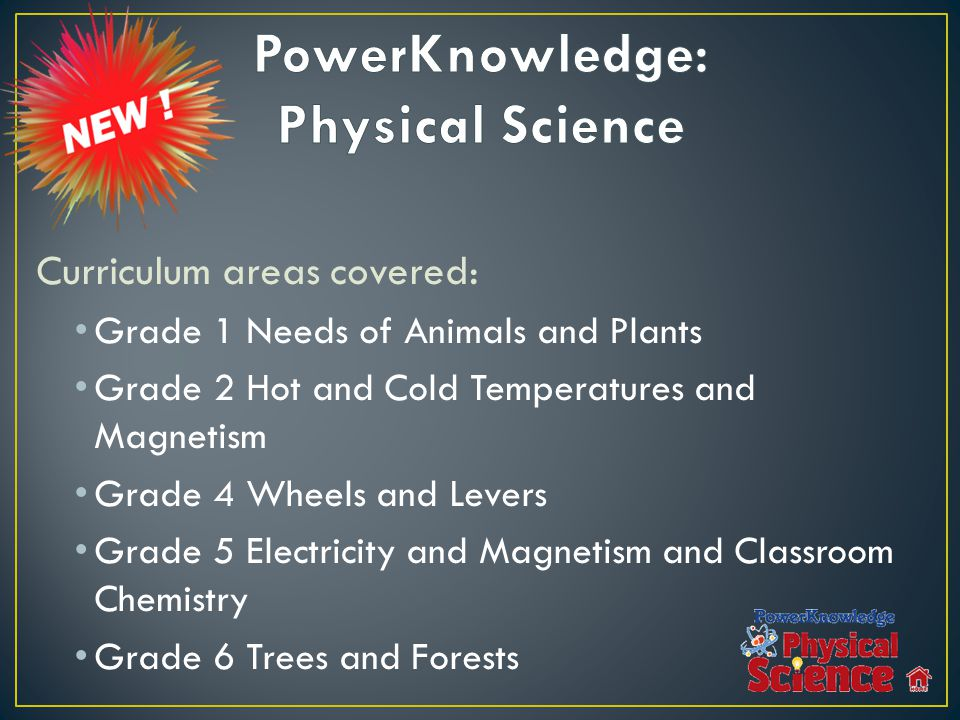 Curriculum areas covered: Grade 1 Needs of Animals and Plants Grade 2 Hot and Cold Temperatures and Magnetism Grade 4 Wheels and Levers Grade 5 Electricity and Magnetism and Classroom Chemistry Grade 6 Trees and Forests