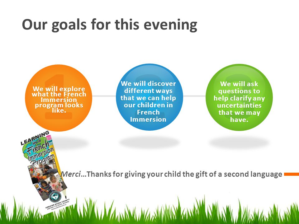 Our goals for this evening Merci…Thanks for giving your child the gift of a second language 1 2 We will explore what the French Immersion program looks like.
