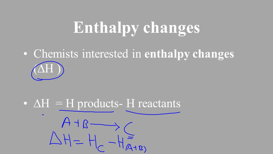 Enthalpy changes Chemists interested in enthalpy changes (  H )  H = H products- H reactants