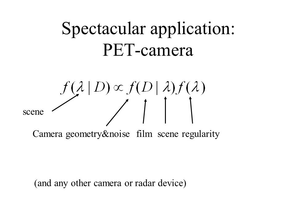 Spectacular application: PET-camera Camera geometry&noise film scene regularity scene (and any other camera or radar device)