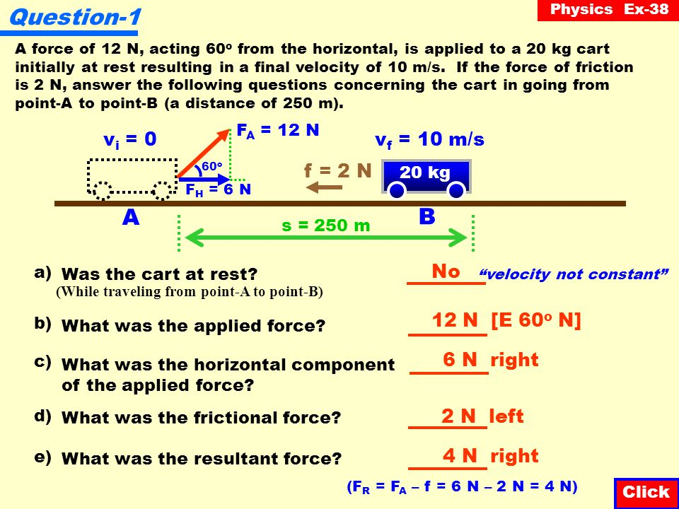 Physics Ex-38 Question-6 Starting from rest, a car reaches a velocity of 60 m/s in a distance of 120 m.