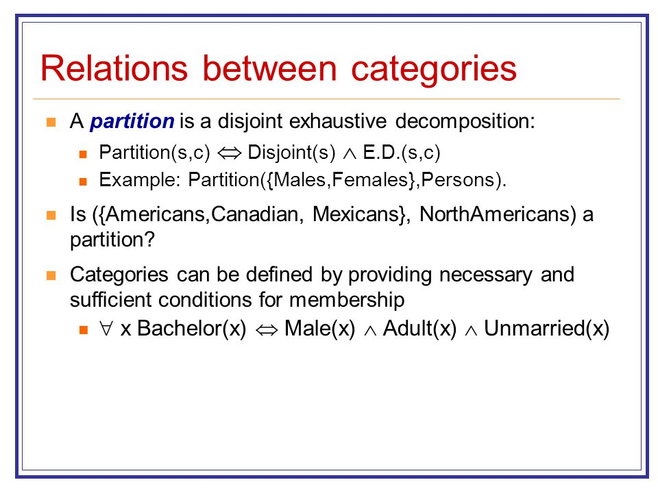 Relations between categories A partition is a disjoint exhaustive decomposition: Partition(s,c)  Disjoint(s)  E.D.(s,c) Example: Partition({Males,Fe