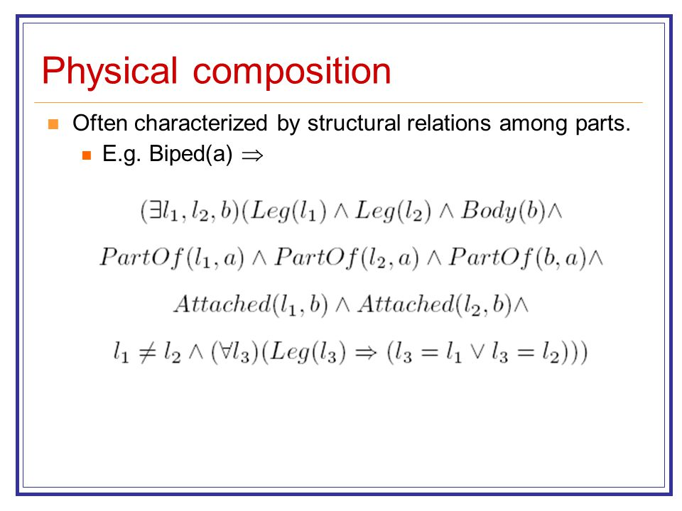 Physical composition Often characterized by structural relations among parts. E.g. Biped(a) 