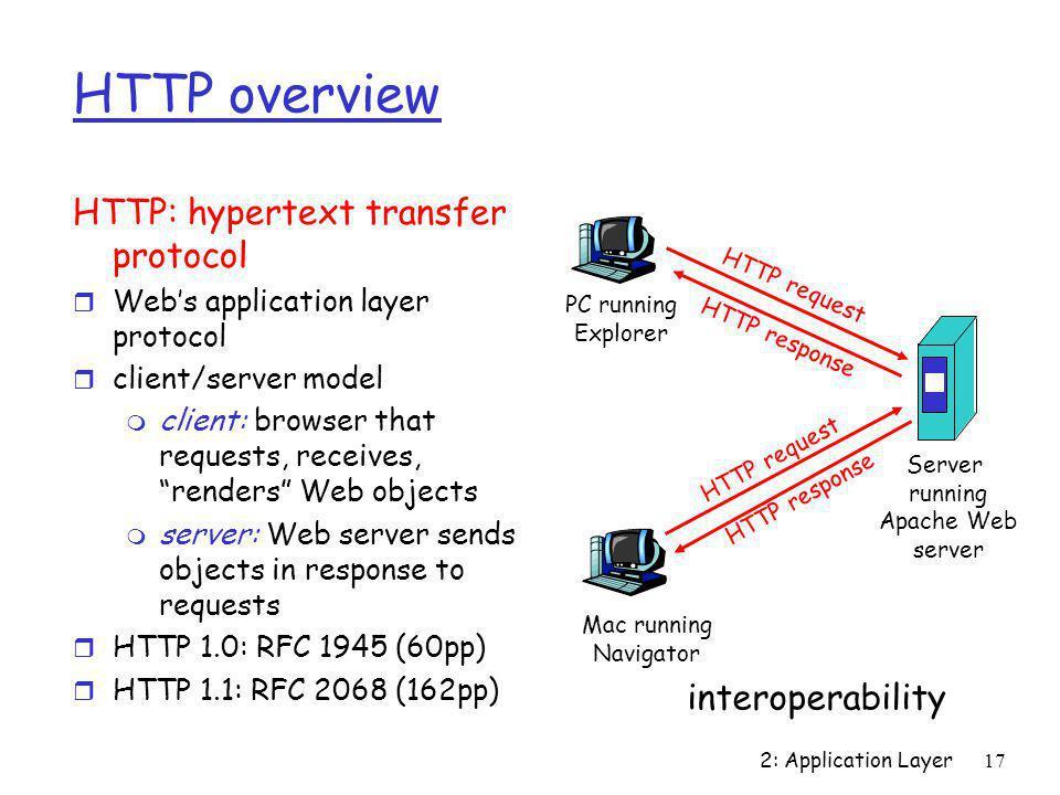 2: Application Layer17 HTTP overview HTTP: hypertext transfer protocol r Web's application layer protocol r client/server model m client: browser that