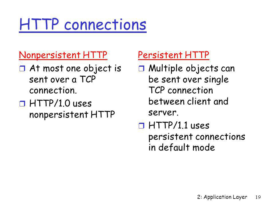 2: Application Layer19 HTTP connections Nonpersistent HTTP r At most one object is sent over a TCP connection. r HTTP/1.0 uses nonpersistent HTTP Pers