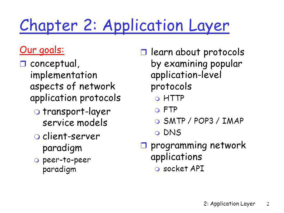 2: Application Layer3 Chapter 2 outline r 2.1 Principles of app layer protocols m clients and servers m app requirements r 2.2 Web and HTTPWeb and HTTP r 2.3 FTPFTP r 2.4 Electronic MailElectronic Mail SMTP, POP3, IMAP r 2.5 DNSDNS r 2.6 Socket programming with TCPSocket programming with TCP r 2.7 Socket programming with UDPSocket programming with UDP r 2.8 Building a Web serverBuilding a Web server r 2.9 Content distributionContent distribution m Network Web caching m Content distribution networks m P2P file sharing
