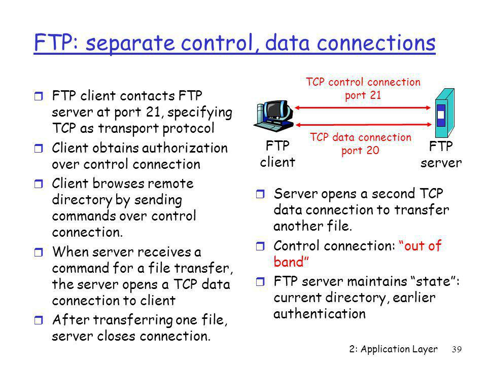 2: Application Layer39 FTP: separate control, data connections r FTP client contacts FTP server at port 21, specifying TCP as transport protocol r Cli