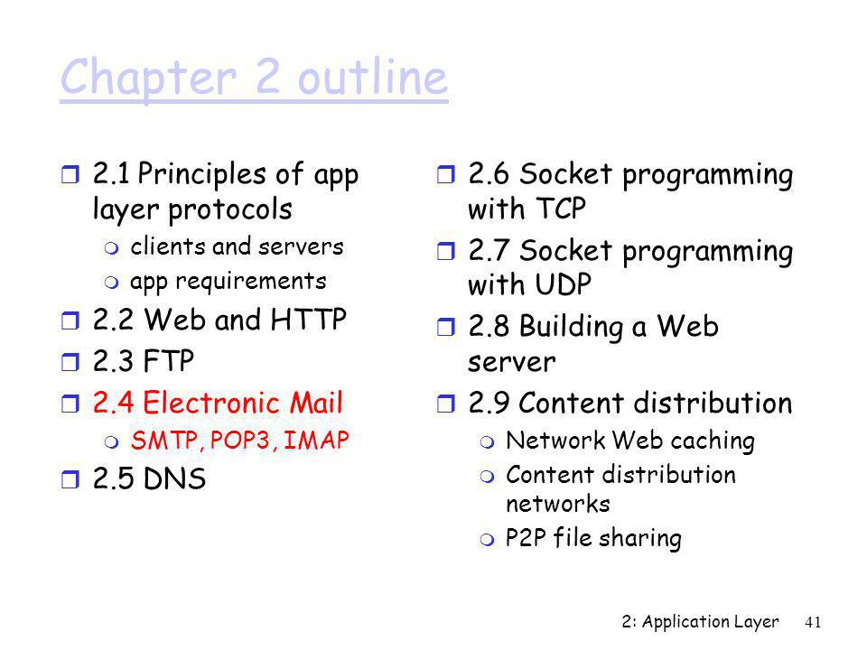 2: Application Layer41 Chapter 2 outline r 2.1 Principles of app layer protocols m clients and servers m app requirements r 2.2 Web and HTTP r 2.3 FTP