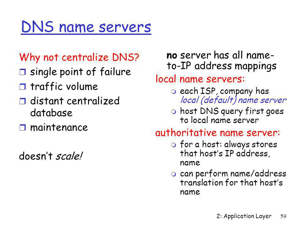 2: Application Layer59 DNS name servers no server has all name- to-IP address mappings local name servers: m each ISP, company has local (default) nam