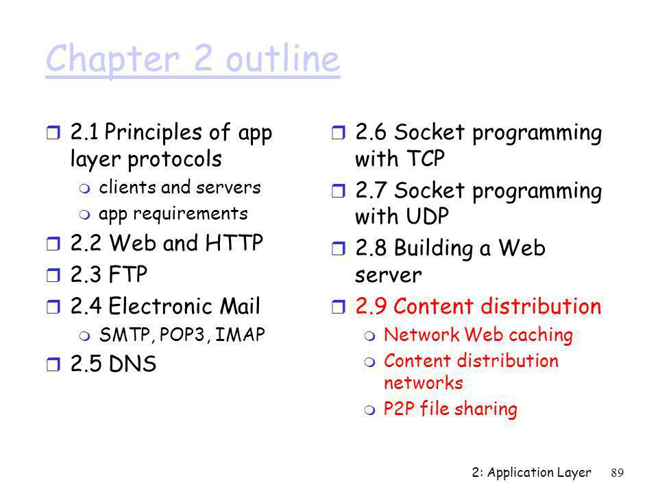 2: Application Layer89 Chapter 2 outline r 2.1 Principles of app layer protocols m clients and servers m app requirements r 2.2 Web and HTTP r 2.3 FTP
