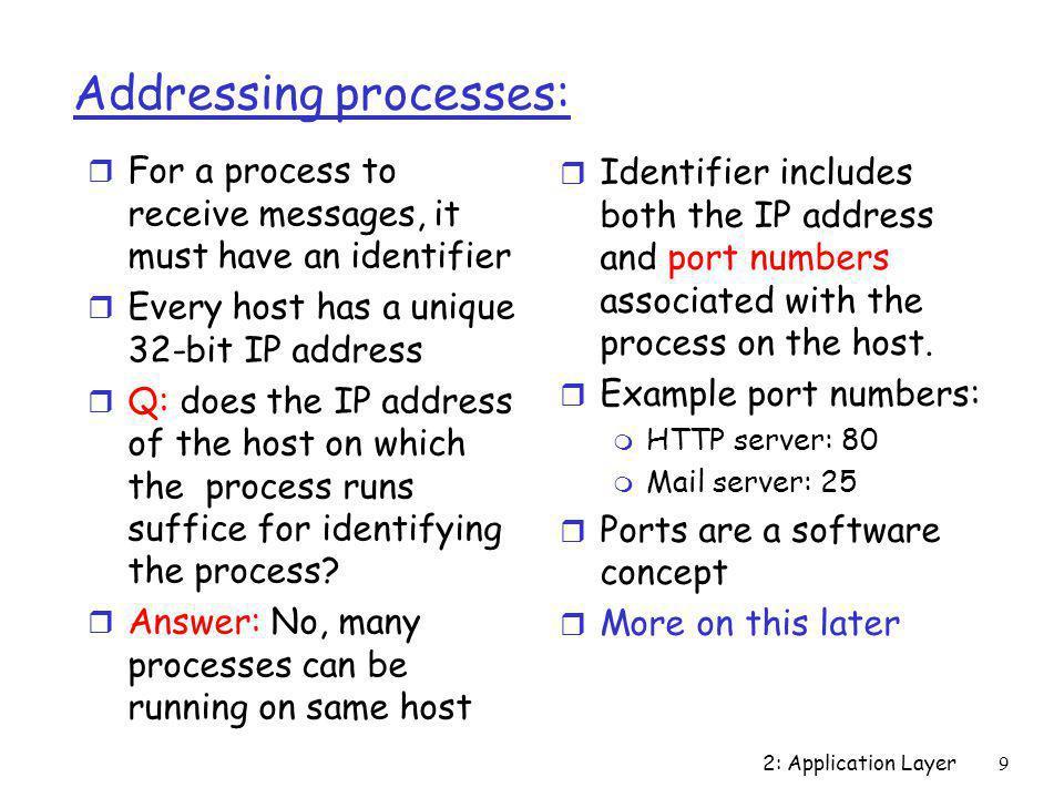 2: Application Layer30 HTTP response status code classes 1xx Informational e.g.