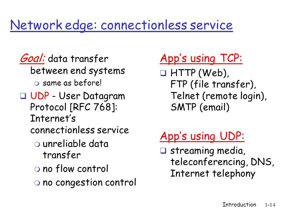 Introduction1-14 Network edge: connectionless service Goal: data transfer between end systems m same as before.