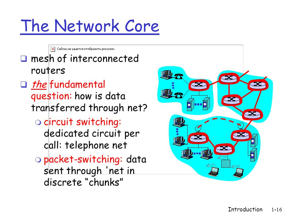 Introduction1-16 The Network Core  mesh of interconnected routers  the fundamental question: how is data transferred through net.
