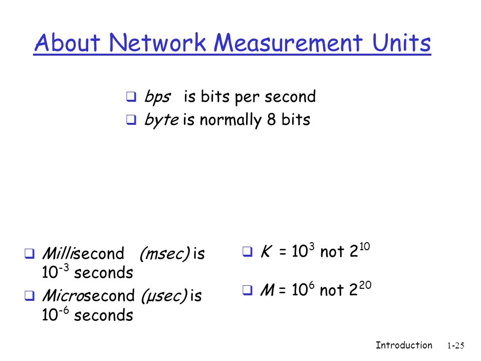 Introduction1-25 About Network Measurement Units  bps is bits per second  byte is normally 8 bits  K = 10 3 not 2 10  M = 10 6 not 2 20  Millisecond (msec) is 10 -3 seconds  Microsecond (μsec) is 10 -6 seconds