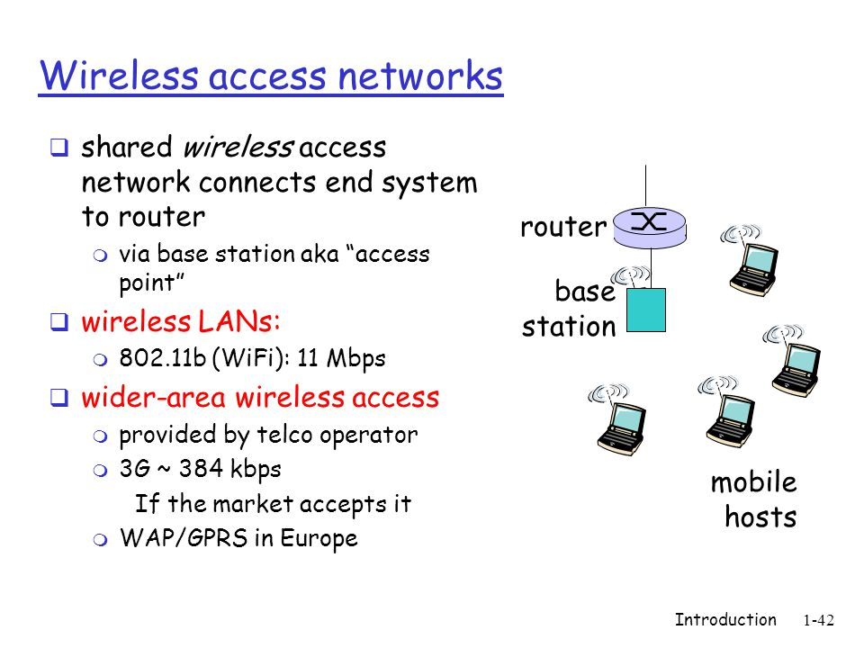 Introduction1-42 Wireless access networks  shared wireless access network connects end system to router m via base station aka access point  wireless LANs: m 802.11b (WiFi): 11 Mbps  wider-area wireless access m provided by telco operator m 3G ~ 384 kbps If the market accepts it m WAP/GPRS in Europe base station mobile hosts router