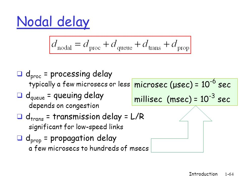 Introduction1-64 Nodal delay  d proc = processing delay typically a few microsecs or less  d queue = queuing delay depends on congestion  d trans = transmission delay = L/R significant for low-speed links  d prop = propagation delay a few microsecs to hundreds of msecs microsec (μsec) = 10 -6 sec millisec (msec) = 10 -3 sec