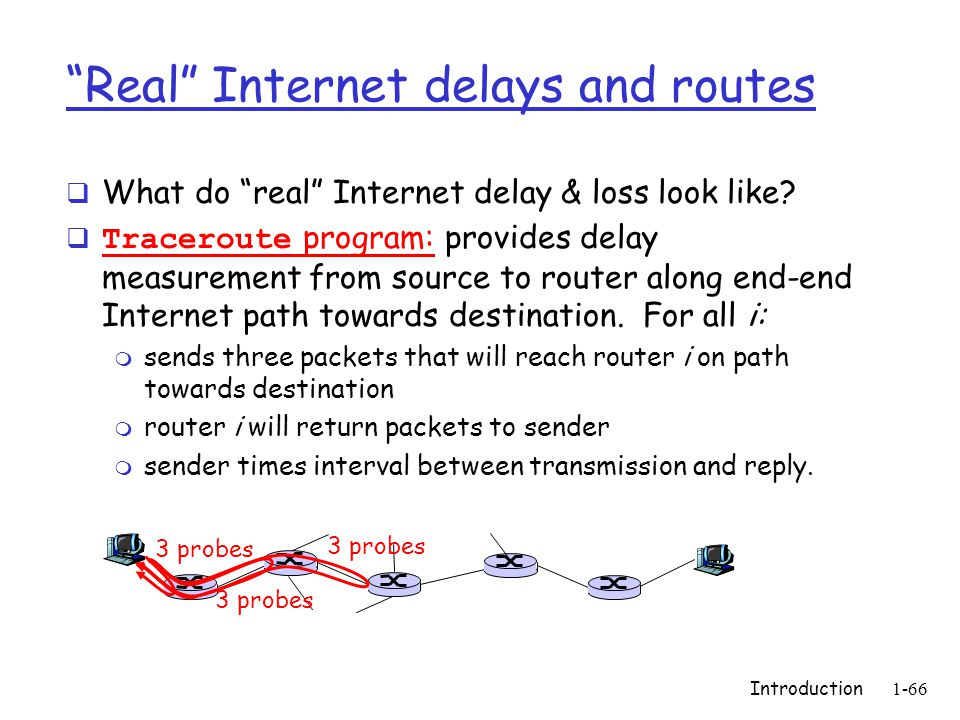Introduction1-66 Real Internet delays and routes  What do real Internet delay & loss look like.