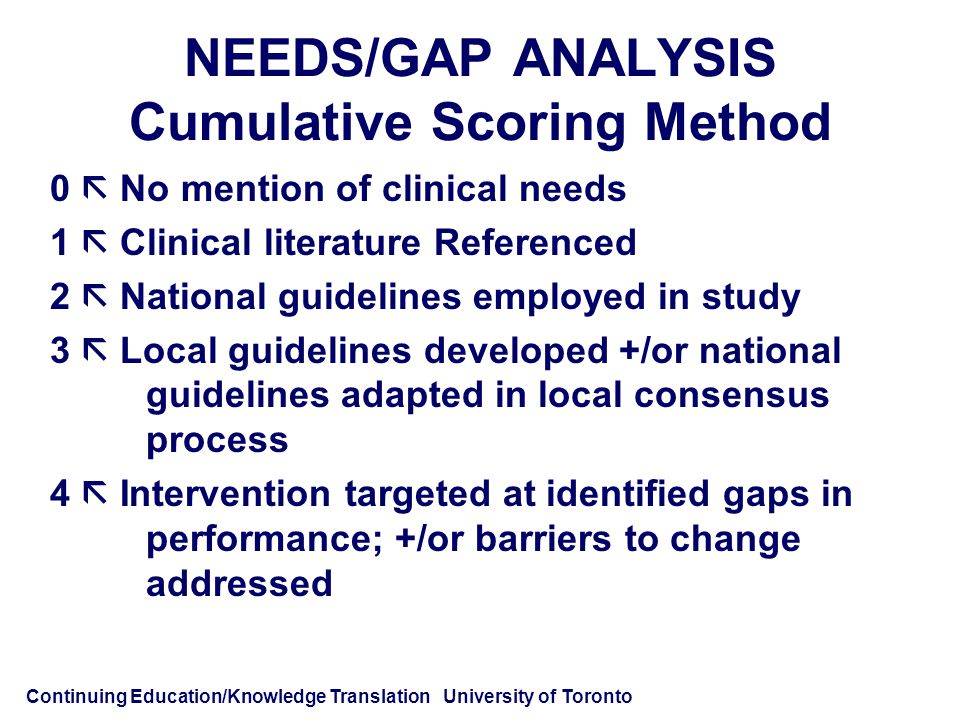 Continuing Education/Knowledge Translation University of Toronto NEEDS/GAP ANALYSIS Cumulative Scoring Method 0  No mention of clinical needs 1  Clinical literature Referenced 2  National guidelines employed in study 3  Local guidelines developed +/or national guidelines adapted in local consensus process 4  Intervention targeted at identified gaps in performance; +/or barriers to change addressed