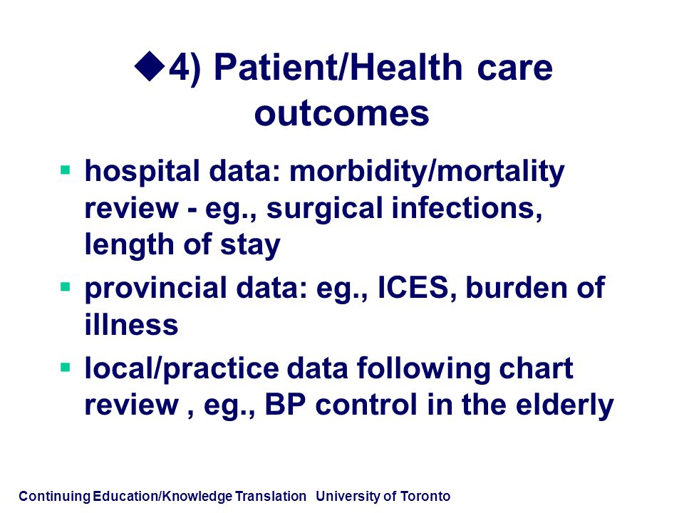Continuing Education/Knowledge Translation University of Toronto  4) Patient/Health care outcomes  hospital data: morbidity/mortality review - eg., surgical infections, length of stay  provincial data: eg., ICES, burden of illness  local/practice data following chart review, eg., BP control in the elderly