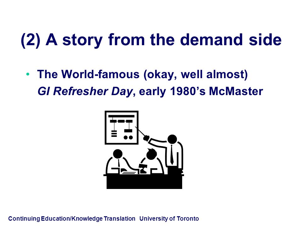 Continuing Education/Knowledge Translation University of Toronto (2) A story from the demand side The World-famous (okay, well almost) GI Refresher Day, early 1980's McMaster
