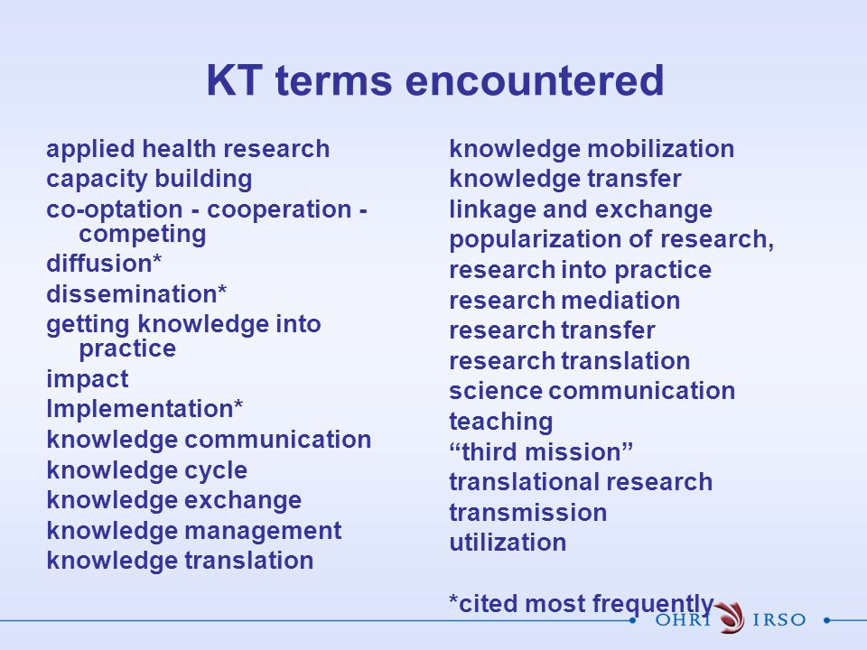 KT terms encountered applied health research capacity building co-optation - cooperation - competing diffusion* dissemination* getting knowledge into practice impact Implementation* knowledge communication knowledge cycle knowledge exchange knowledge management knowledge translation knowledge mobilization knowledge transfer linkage and exchange popularization of research, research into practice research mediation research transfer research translation science communication teaching third mission translational research transmission utilization *cited most frequently