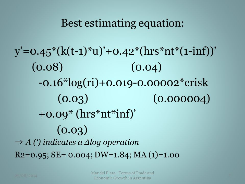 Best estimating equation: y'=0.45*(k(t-1)*u)'+0.42*(hrs*nt*(1-inf))' (0.08) (0.04) -0.16*log(ri)+0.019-0.00002*crisk (0.03) (0.000004) +0.09* (hrs*nt*inf)' (0.03) → A (') indicates a Δlog operation R2=0.95; SE= 0.004; DW=1.84; MA (1)=1.00 25/08/20147 Mar del Plata - Terms of Trade and Economic Growth in Argentina