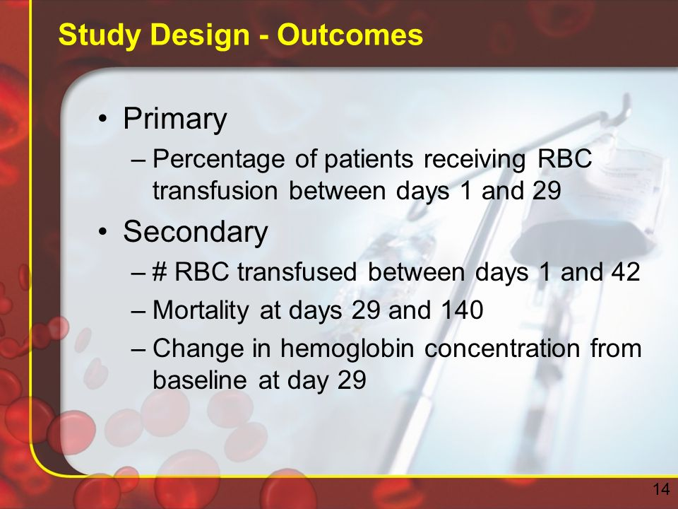 Study Design - Outcomes Primary –Percentage of patients receiving RBC transfusion between days 1 and 29 Secondary –# RBC transfused between days 1 and 42 –Mortality at days 29 and 140 –Change in hemoglobin concentration from baseline at day 29 14