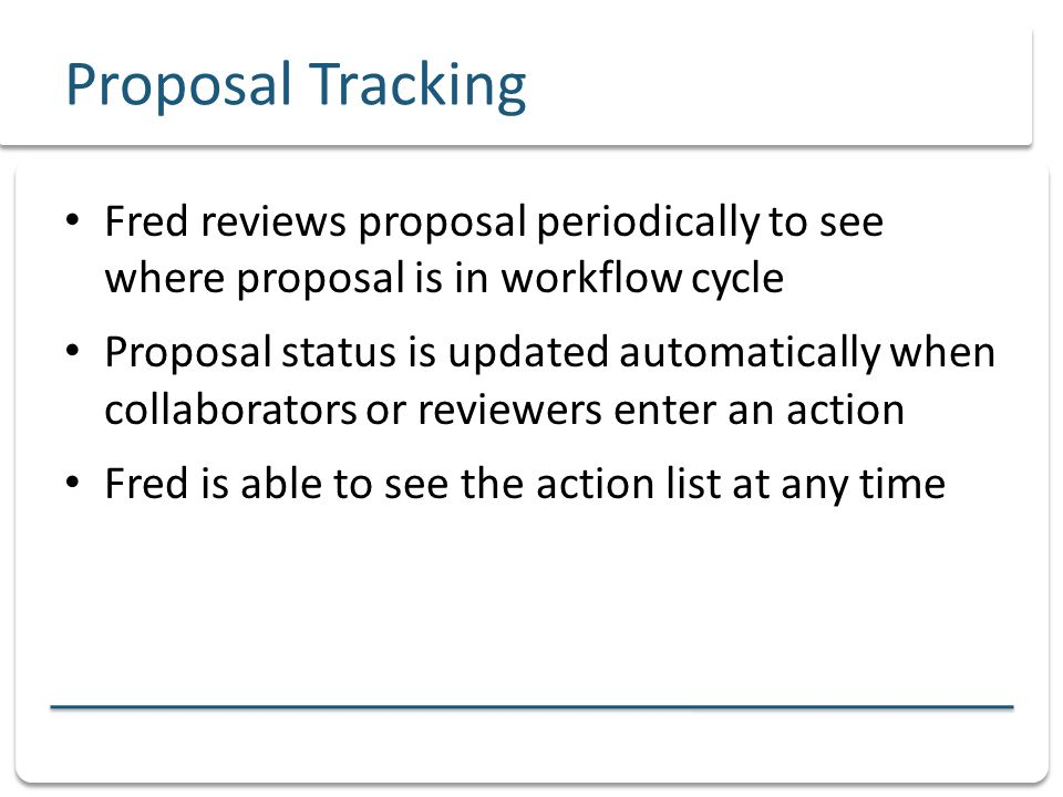 Proposal Tracking - Fred Action list displays all actions taken and pending DepartmentFacultySenateCourse Catalogue Proposer
