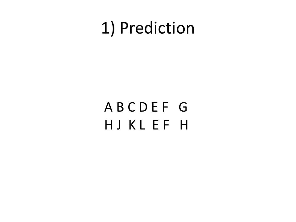 A B C D E F G H J K L E F H 1) Prediction