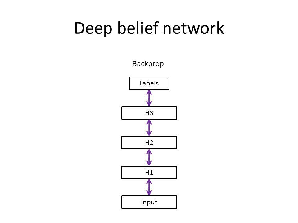 Deep belief network Input H1 H2 H3 Labels Backprop