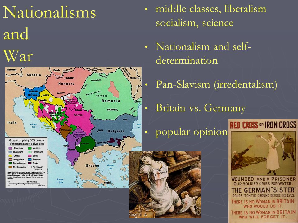 Nationalisms and War middle classes, liberalism socialism, science Nationalism and self- determination Pan-Slavism (irredentalism) Britain vs.