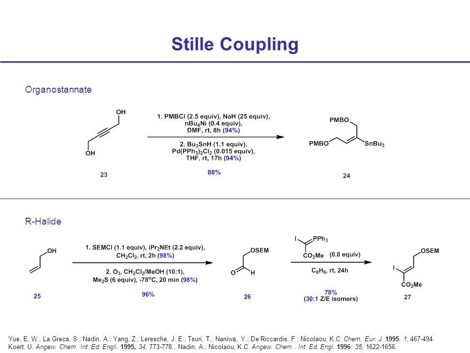 Stille Coupling Organostannate R-Halide Yue, E. W.; La Greca, S.; Nadin, A.; Yang, Z.; Leresche, J.