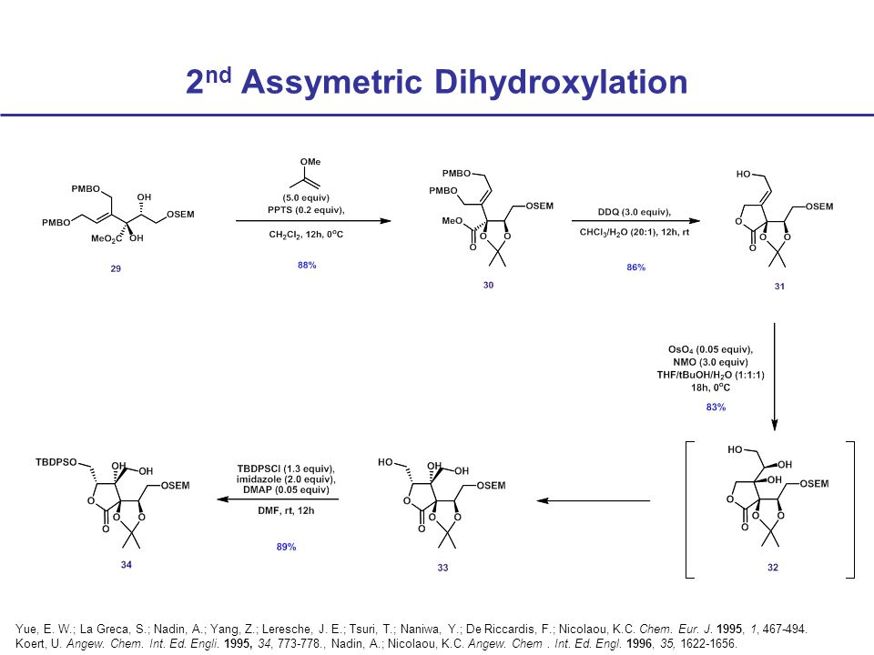 2 nd Assymetric Dihydroxylation Yue, E. W.; La Greca, S.; Nadin, A.; Yang, Z.; Leresche, J.