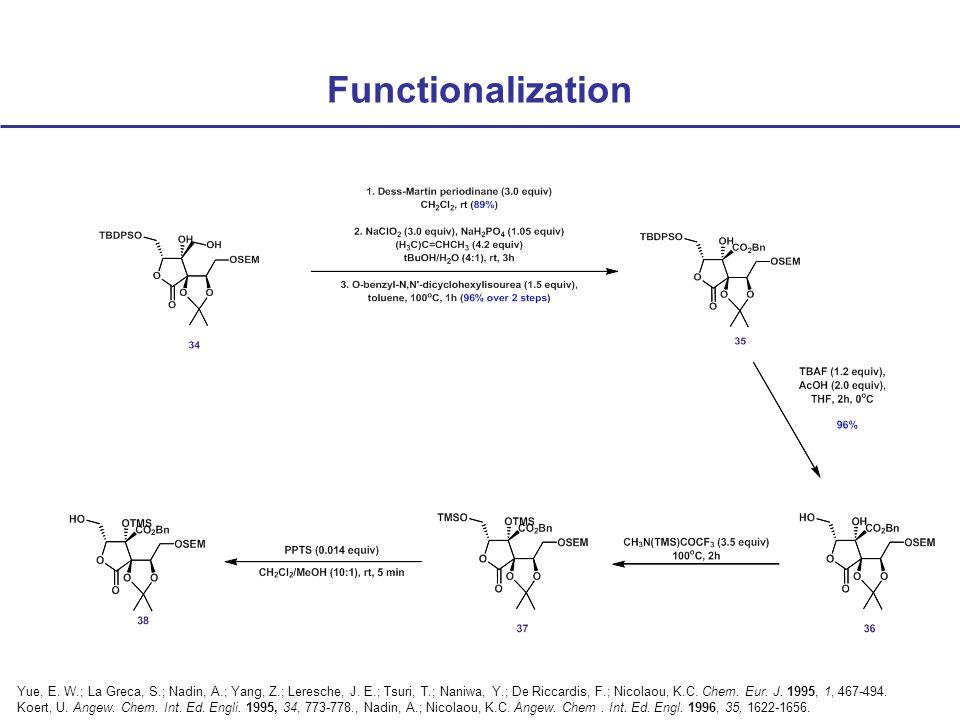 Functionalization Yue, E. W.; La Greca, S.; Nadin, A.; Yang, Z.; Leresche, J.